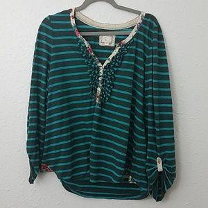 Anthro Postmark L blouse stripe floral popover